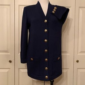 St. John Basics Navy Blue Sweater Cardigan Size P